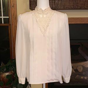 Lace chiffon blouse vintage Worthington 10